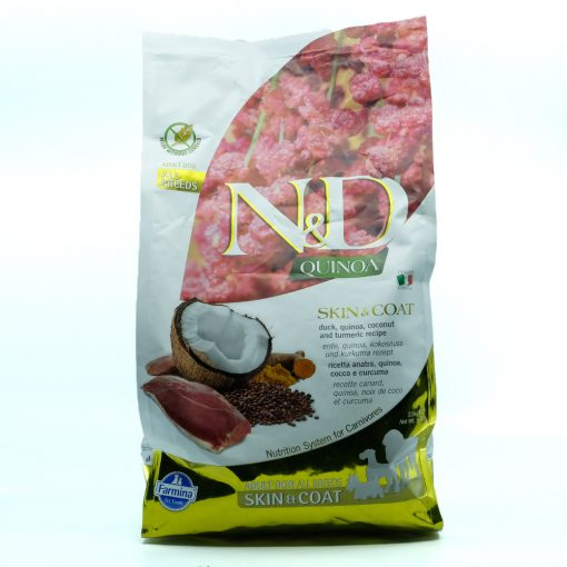 Szőr, bőr problémás kutyáknak teljes értékű, gabonamentes táp - N&D Dog Quinoa Skin&coat kacsa 2,5kg