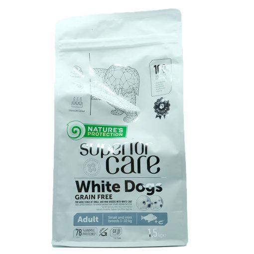 Fehér színű, szemfolyás problémában szenvedő kutyáknak teljes értékű, gabonamentes - ADULT táp - Natures Protection Dog Adult SC White Grain Free White fish Small&mini